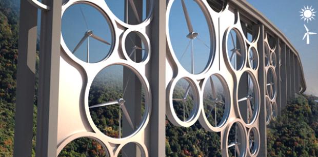 мост генерирующий солнечную и ветровую электроэнергию