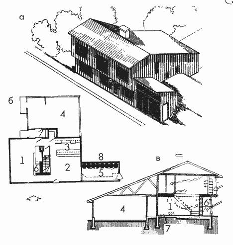 Компактный жилой дом с пристроенной гелиотеплицей для холодного климата
